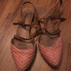 Red and white strappy flats